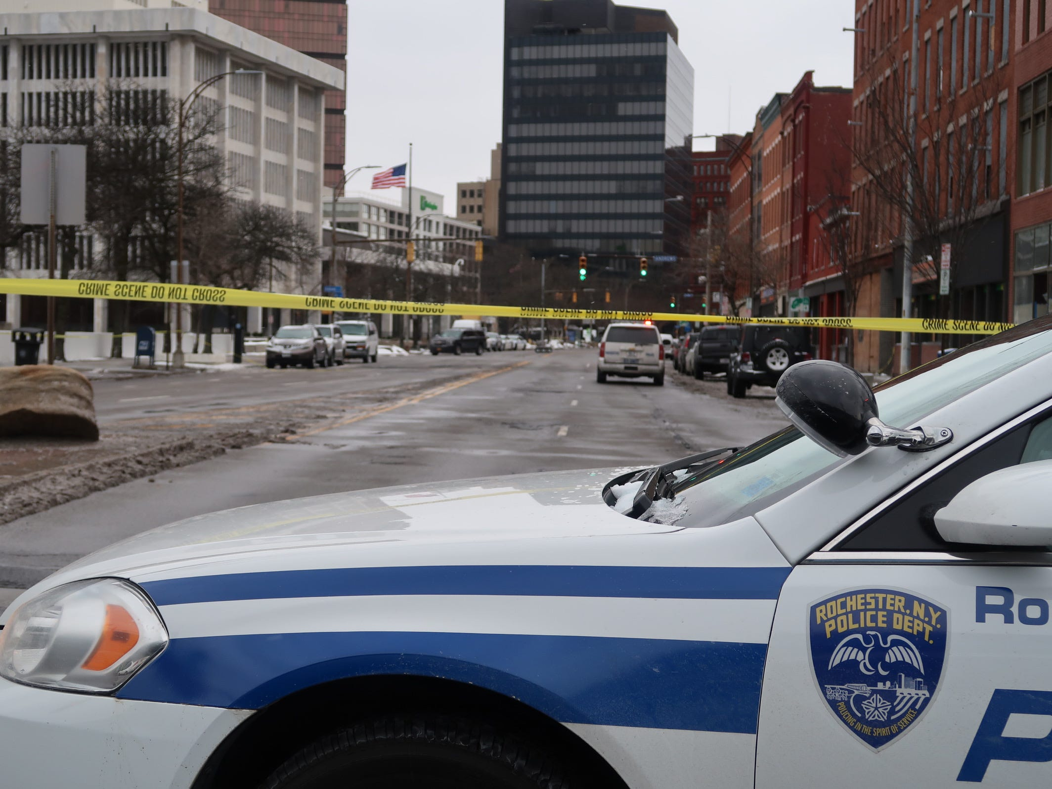 Rochester police have closed roads near the federal building on State Street on Feb. 27, 2020.