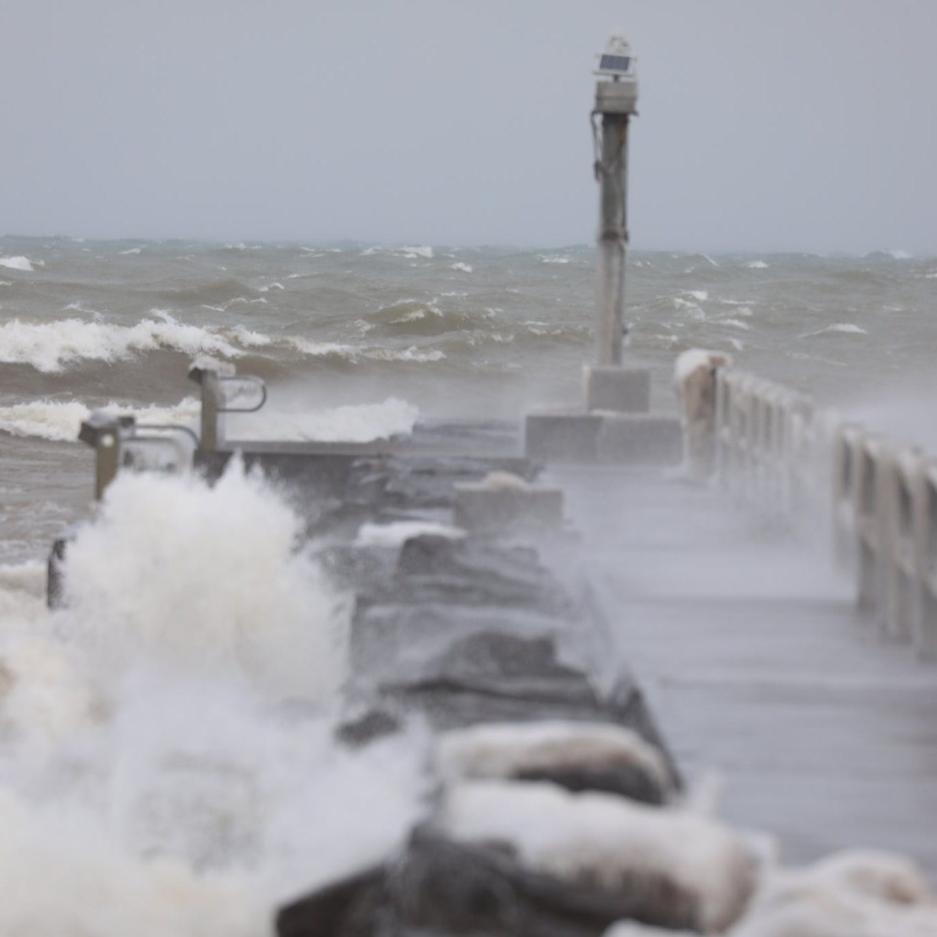 Waves on Lake Ontario on the pier in Webster Park on Feb. 27, 2020.