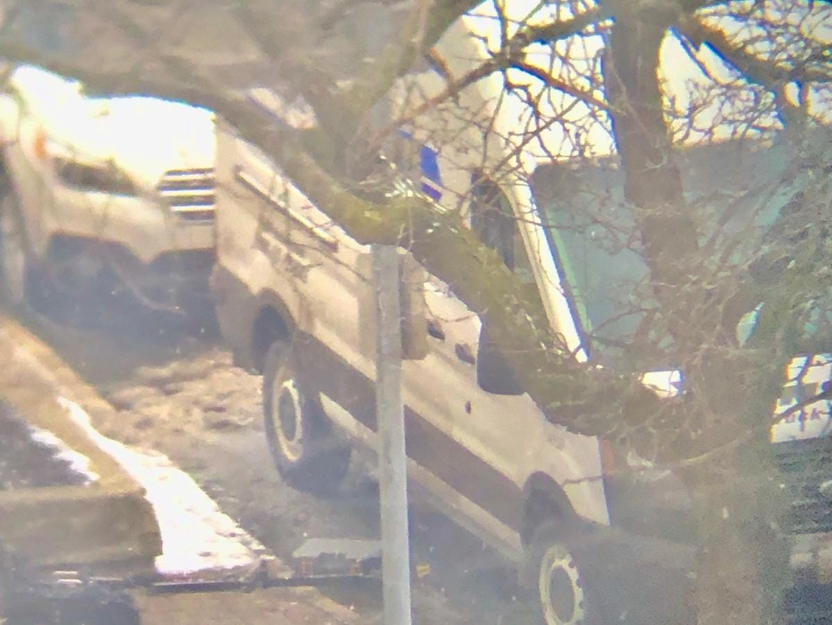 A close-up look at the suspicious white van parked in front of the Rochester federal building Thursday.