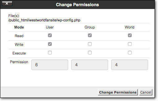 file manager change permissions