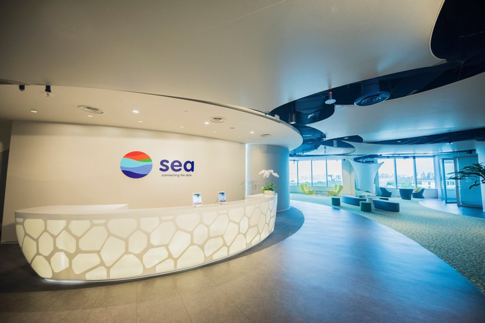 The lobby at Sea Limited HQ.