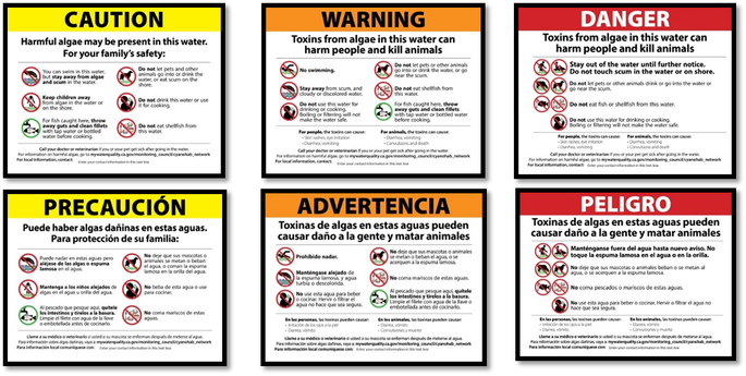 Advisories posted at waterways with potentially harmful algal blooms alert anglers and other recreaters to potentail hazards and best safety practices.