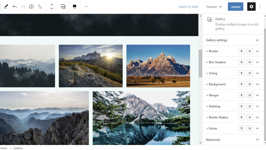 Editing the Gallery block's background and padding via the EditorPlus plugin.