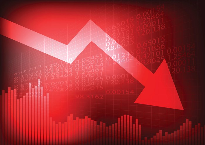 Big red arrow over a stock chart