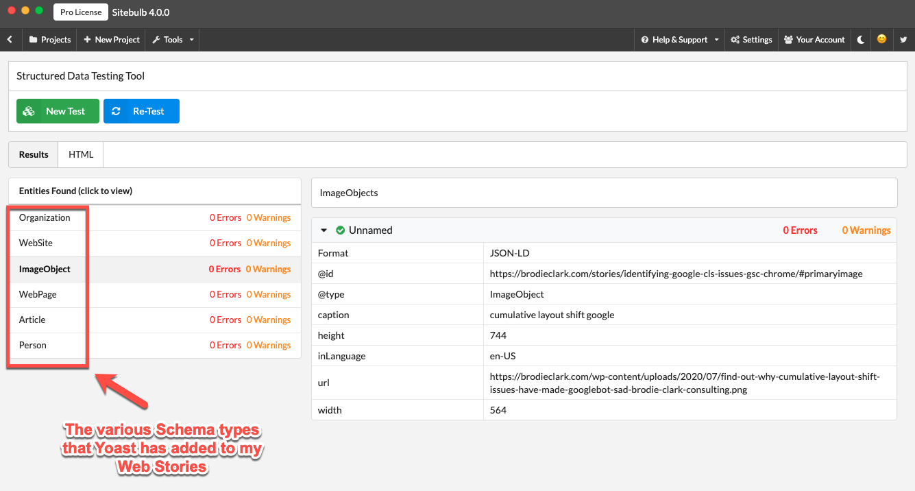 testing google structured data with sitebulb version 4