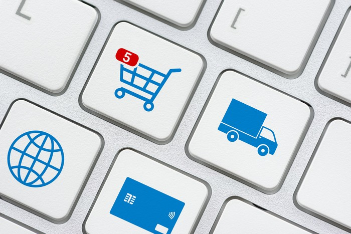 Keyboard keys featuring shopping cart, truck, globe, and credit card icons.
